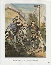 """1972 Vintage Currier & Ives """"WILLIAM TELL GOVERNOR REPLY"""" COLOR Print Lithograph"""