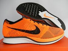 MEN'S NIKE FLYKNIT RACER TOTAL ORANGE-WHITE-DARK GREY SZ 7 [526628-810]