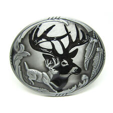 Indian Elk Leaping Tail Buck Deer Belt Buckle Hunting Hunter Cowboy Cowgirl New