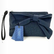 SIMPLY VERA WANG New! CADET BLUE Perforated WRISTLET with BOW Clutch Purse