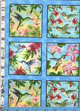 Fabric Elizabeth HUMMINGBIRDS flowers post card Blue border PANEL oop