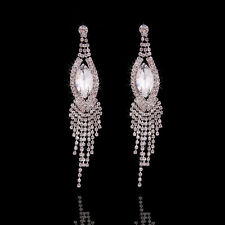 White Zircon WEDDING BRIDAL Swarovski Element Crystal Long Earrings Dangle