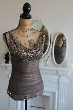 BNWT Faust Jewel Beige Top Cowl Neck Sleeveless Tulle Sequin T2 8 10 RRP99 -55%