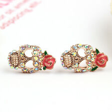 Nice Beautiful Fashion Charm Noble Stud Earrings Jewelry Girl Gold Skull Shape