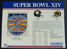1980 NFL Super Bowl XIV (14)  Patch Pittsburgh Steelers vs Rams Willabee & Ward