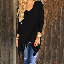 Womens Tassel Fringe Irregular Hem Blouse Ladies Cardigan Jumper Tops Mini Dress