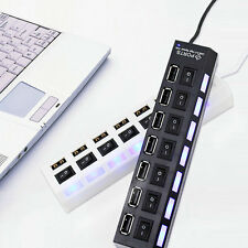 7 Port High Speed USB 2.0 Black Hub Individual Switches