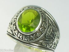 925 Sterling Silver United State Army Military August Peridot Men Ring Size 8