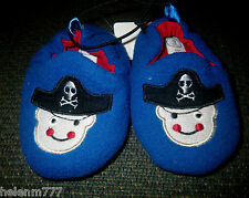 Baby Boys Size 2 3 Royal Blue Pirate Padded Inner Rubber Sole Slipper Shoe