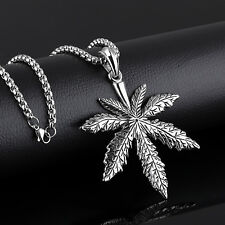 Large silver Stainless Steel Marijuana maple leaf Pendant Mens Fashion Necklace
