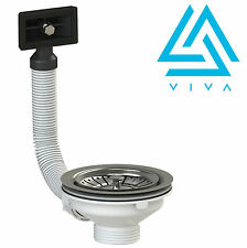 VIVA Stainless Steel Basket Strainer Sink Waste & Plug with SQUARE Overflow*NEW*