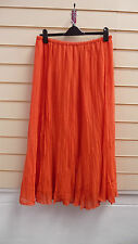 TOGETHER HOT CORAL CRINKLE LONG CASUAL ELASTICATED WAIST SKIRT UK 18