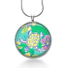 Turtle necklace, lilly fabric- ocean,sea