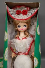 1970's Elegant Doll by Bradley Glam Large Eyes Victorian Red White Mint Unbrella