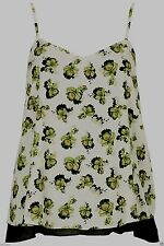 Topshop Pale Green Floral Orchid Chiffon Layer Cami Vest Top - Size 6