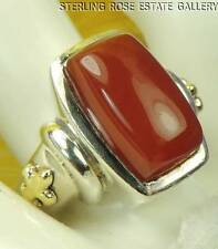 ANN KING CARNELIAN 18K VERMEIL FLEUR DE LIS Sterling Silver 925 Estate RING sz 9