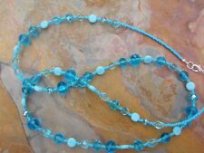 Totally Turquoise Glass Handmade Beaded Necklace - Transparent & Opaque Beads
