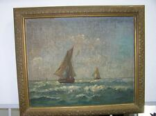Antique Original Oil Painting of Schooner Sail Boats by F Dupont listed ARTIST
