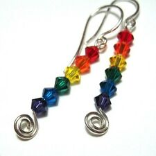 Rainbow earrings - made with Swarovski Crystal Elements & sterling silver hooks