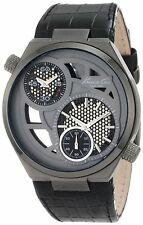 New Kenneth Cole Men KC1777 Black Leather Analog Watch see Thru Dial