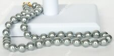 AAA 10mm Silver Gray South Sea Shell Pearl Necklace 18''