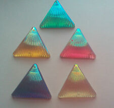 10 x triangle  shell pattern shape sew on stones dance ,gem, flat back,stick on