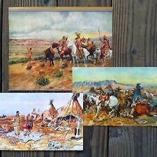 10 different Original CHARLES RUSSELL Indian WESTERN ART Prints 1930s NOS