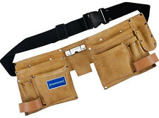 11 Pocket DOUBLE TOOL BELT POUCH Suede Leather Tool Hammer Tape Holder UK U268