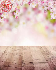 PINK EASTER BOKEH FLOWER WOOD BACKDROP BACKGROUND VINYL PHOTO 5X7FT 150x220CM