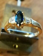 14k YG Estate Marquise Sapphire and Diamond Ring sz6 1/2  barely worn 2.62g