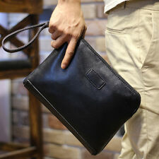 New Men's Soft Leather Clutch Wrist Bag Tote Purse Handbag Long Briefcase Wallet