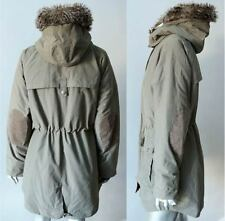 Tommy Hilfiger Parka Faux Fur Hooded Elbow Patch Fin Sha Green Cargo Coat L