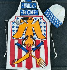 HAIL TO THE CHEF Cook APRON Kitchen BBQ Grill Funny Vintage Hat Bird Fork Knife