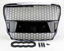 Audi A6 S6 05-07 RS Style Chrome w/ Black Mesh Front Hood Bumper Grill