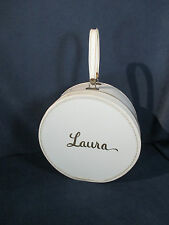 Suitcase Round Vtg Hat Box Luggage White Vinyl Laura in Gold Floral Inside Zips