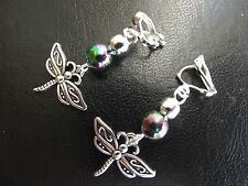 Dragonfly & Iridescent  Bead Earrings   CLIP ON