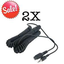 2 Pk 15 ft Stereo Coiled Headphone Extension Cable Audio Cord 3.5mm M-F USA