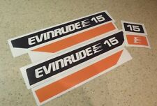 Evinrude Outboard Vintage Decal Kit 15 HP Blk/Org FREE SHIP + FREE Fish Decal!