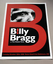 BILLY BRAGG concert poster Rams Head Live, Baltimore MD, 10/28/08 by Alan Hynes
