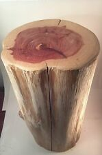 "Rustic Red Cedar Stump Stool End Table plant stand photo prop 10"" wide  22"" tall"