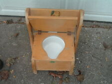 Antique VTG Pot Wooden Chair Commode Potty Toilet Furniture Rare Original