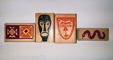 Rubber Stampede African Tribal Spirit Mask Snake Border Tile Lot of 4