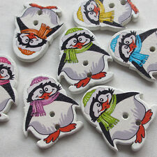 New 50pcs Penguin Wood Buttons 2 Holes Sewing Craft 28mm