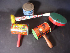 Lot Of 5 Old Vtg Metal Party Halloween And Others Party Noise Maker Toys