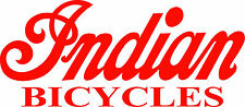 "INDIAN BICYCLE DIE CUT DECAL / STICKER - 8.5"" X 3.75"" - SET OF 2 - RED"