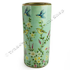 LIGHT GREEN UMBRELLA STAND WITH FLOWER & BIRD DESIGN