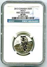 2013 CANADA $20 SILVER NGC SP69 WOLF FIRST RELEASES 1/4 OZ ROYAL CANADIAN MINT