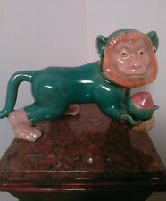 """Majolica Monkey Figurine By Oriental Accent  Heavy, Crackle Finish Length 12"""""""