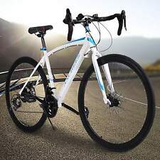 Fashion Mens 26inch Carbon Steel Road Bike Racing 700C Bicycle 21 Speed White