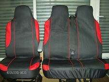 PEUGEOT PARTNER VAN 2008 & ON BLACK & RED TRIM VAN SEAT COVERS SINGLE+DOUBLE